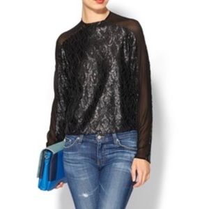 Line & Dot Black Sequin Top - Holiday Party Ready!